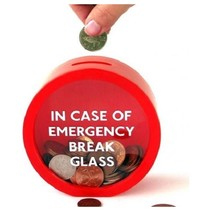 """Spaarpot """"In Case of Emergency"""" 12x5 cm Rood"""