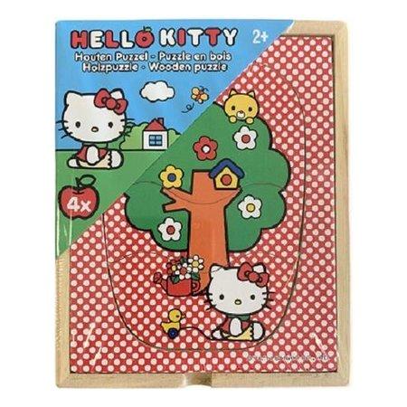 Hello Kitty Hello Kitty puzzel 4stuks in een houten kistje - Puzzel - vanaf 2 Jaar L15xB12H3