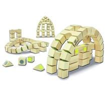 houten bouwblokken, 3D flexibel, 42 delen, architectuurset gebouwen 32x32cm
