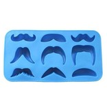 Moustache Ijsklontjes Vorm van Silliconen om Drankje Koel te Houden  Snorren – Blauw