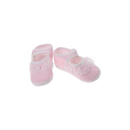 Junior joy Babyschoenen Newborn Meisjes Roze/wit Met Kant