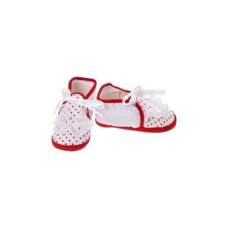 Junior joy  Babyschoenen Newborn Meisjes Wit/rood Met Stippen