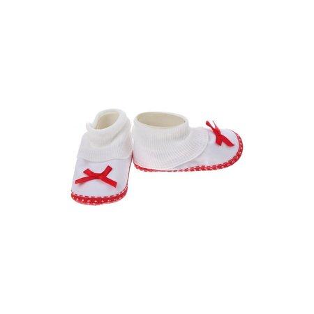 Junior joy  Babyschoenen Hoog Newborn Meisjes Wit/rood Met Strik