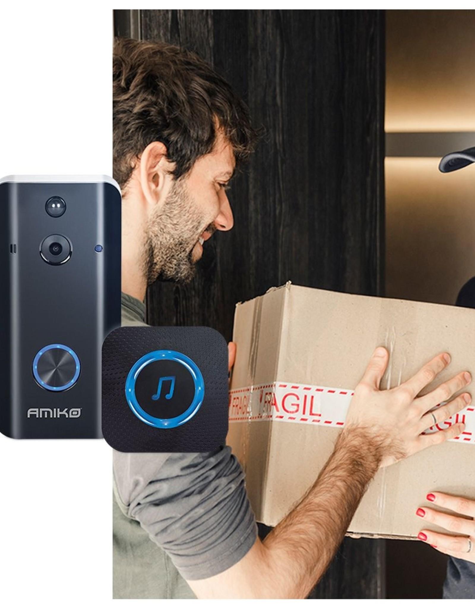 Amiko Amiko Smart Camera Wifi deurbel - Full HD 1080P - inclusief deurbelgong en 16GB MicroSD