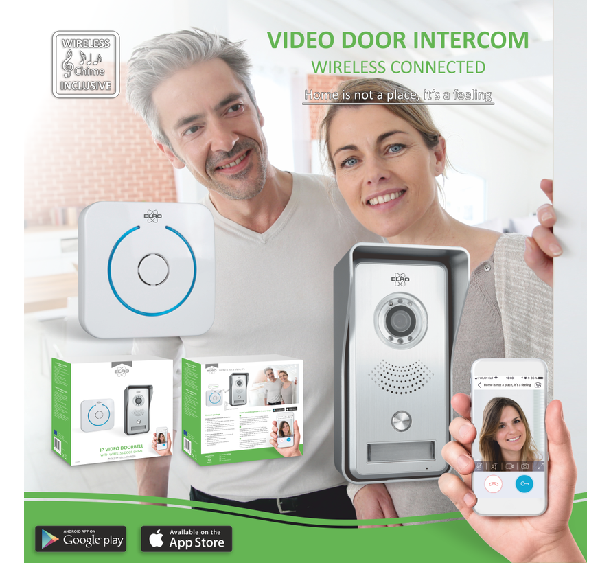 Elro Video IP Deur Intercom Systeem met Applicatie en Draadloze Deurbel (DVC040IP)