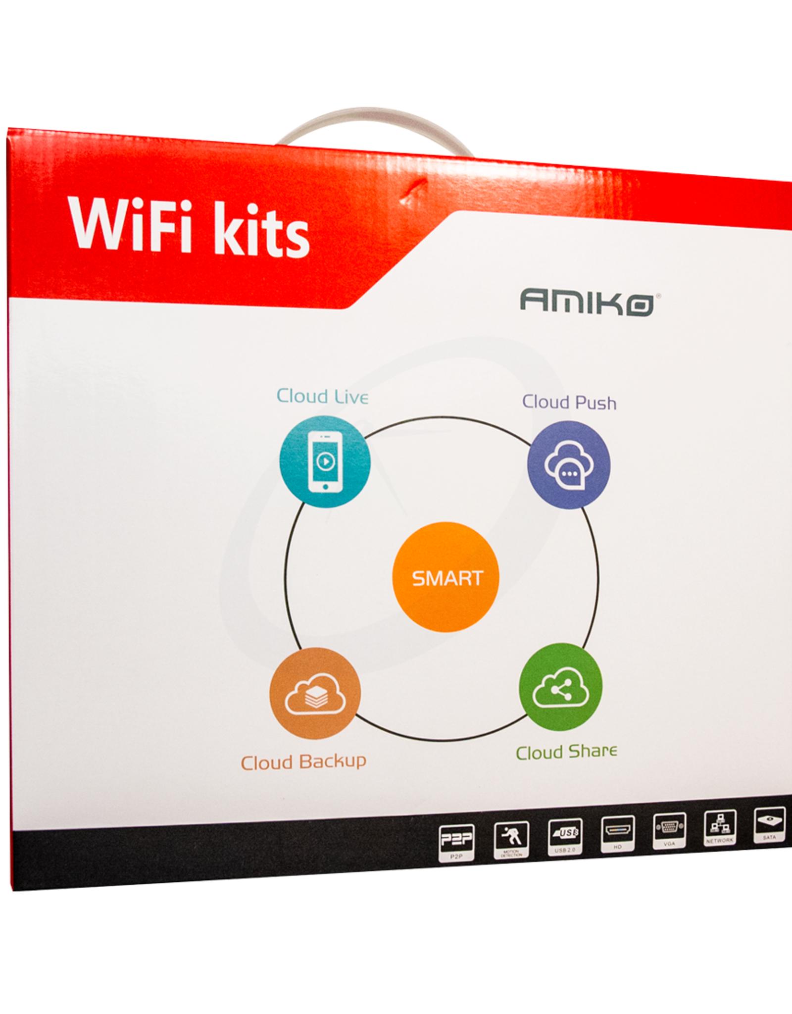 Amiko Amiko WiFi KIT - 8CAM 8CH 2MP 200 - 8 x Wifi Camera's - 1 x WiFi NVR - 4 x Power Supply