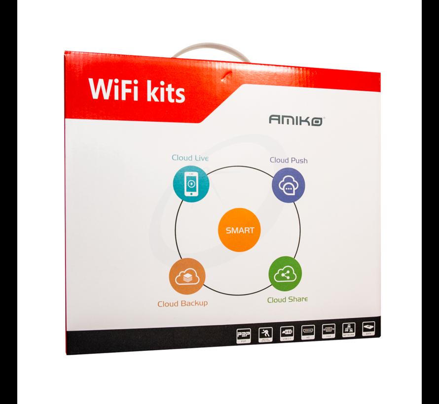 Amiko WiFi KIT - 8CAM 8CH 2MP 200 - 8 x Wifi Camera's - 1 x WiFi NVR - 4 x Power Supply