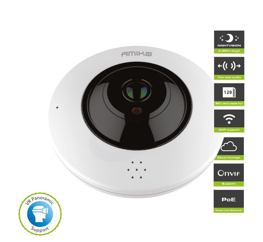 Amiko FE20A200 POE WiFi – Fisheye 360 Camera - Indoor - 2 Way Audio
