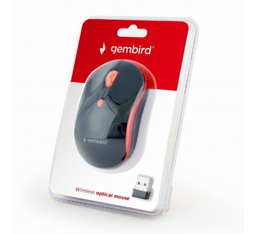 4-knops draadloze muis, zwart/rood