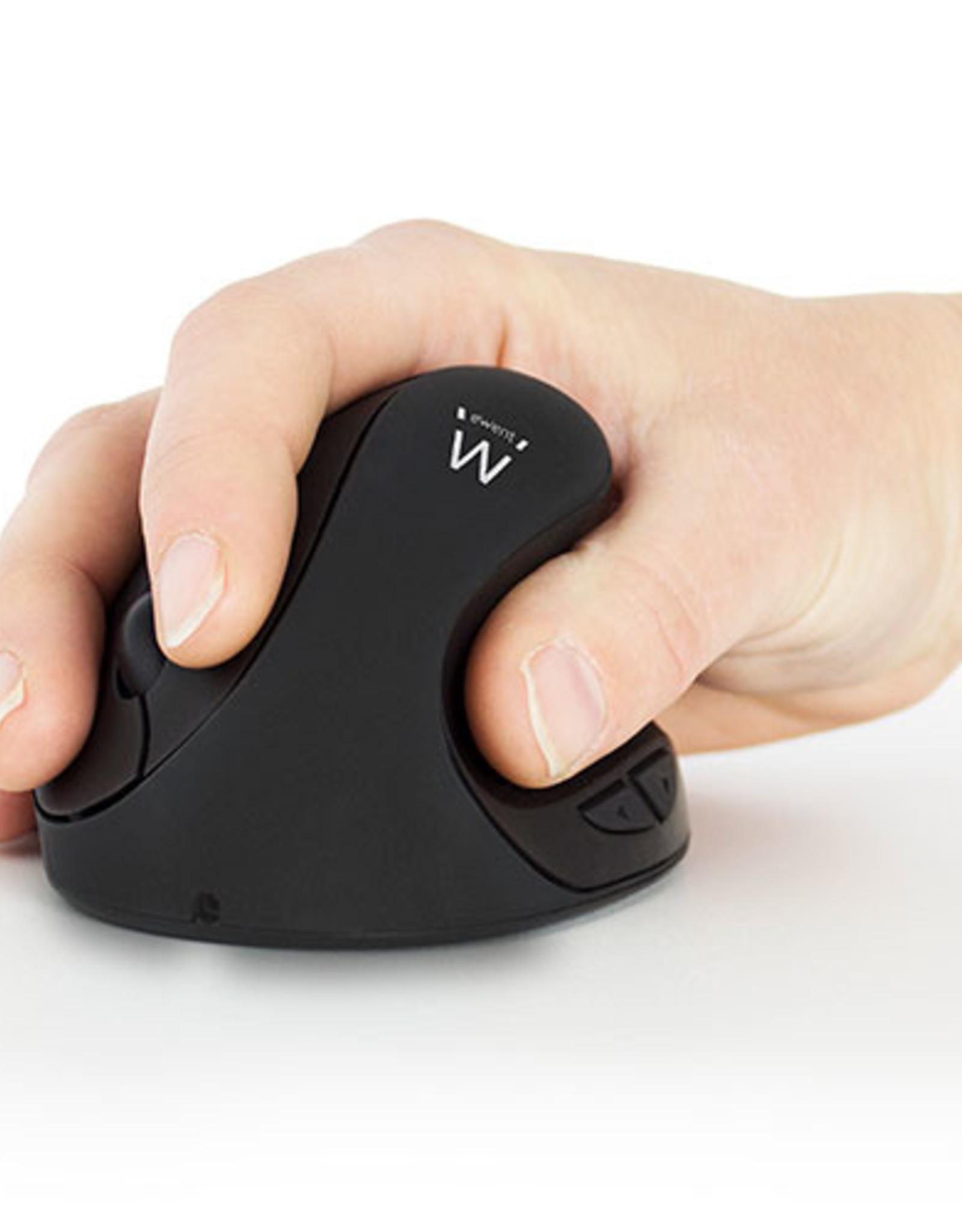 Ewent Ewent Draadloze ergonomische muis, USB nano ontvanger, 1600 dpi, zwart