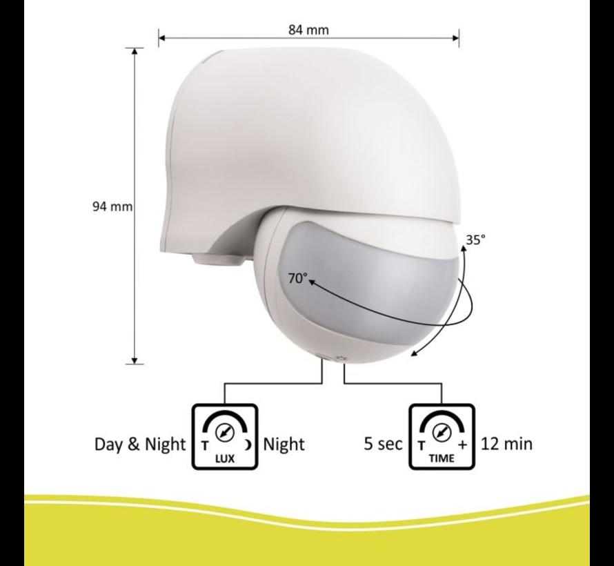 Bewegingsmelder – geschikt voor buiten- 200° - Wit - Copy