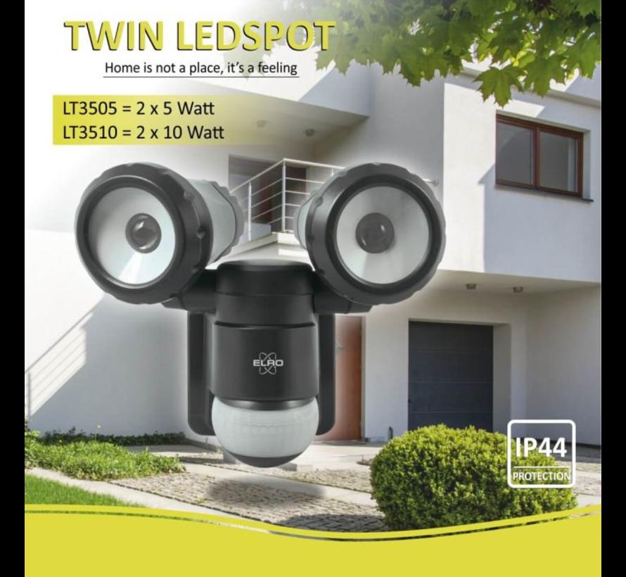 2-Kops LED Buitenlamp met Bewegingsmelder 2 x10W