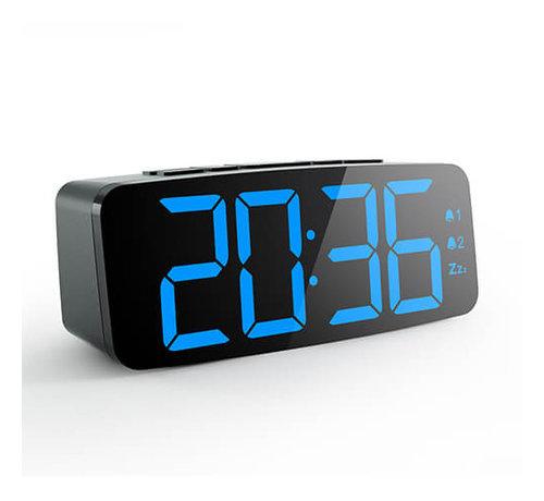 Haptime Wekkerradio - FM Auto-scan met 20 kanalen - 2 alarmfuncties, Dimbaar op 4 niveaus - Snooze - 12hr/24hr weergave - Grote LED Cijfers - 2 alarmfuncties