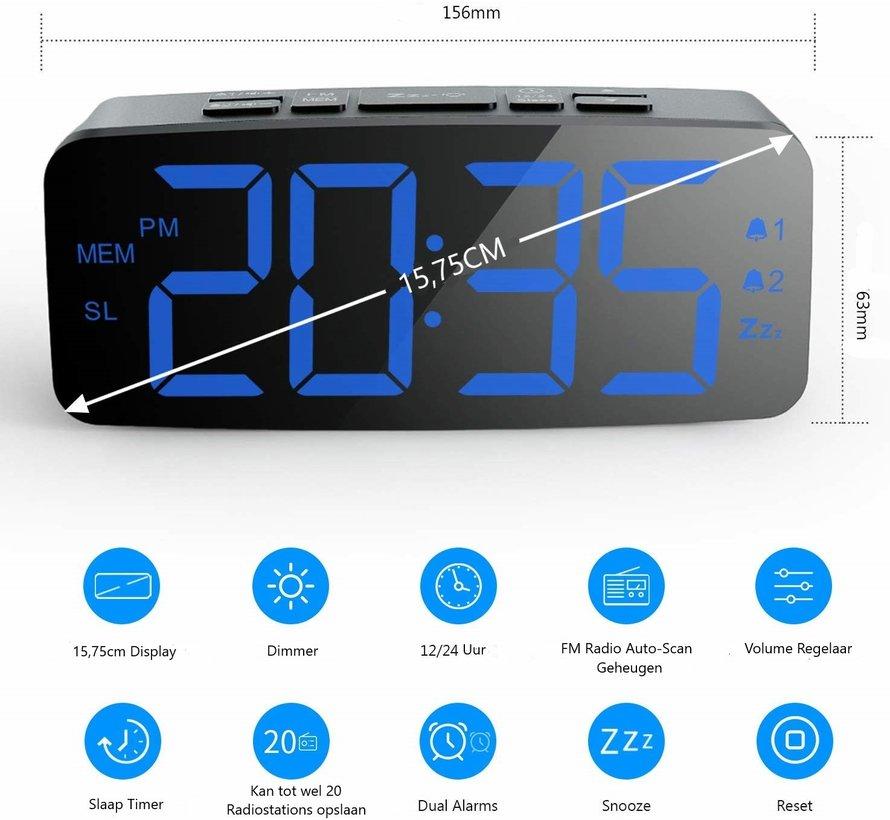 Wekkerradio - FM Auto-scan met 20 kanalen - 2 alarmfuncties, Dimbaar op 4 niveaus - Snooze - 12hr/24hr weergave - Grote LED Cijfers - 2 alarmfuncties