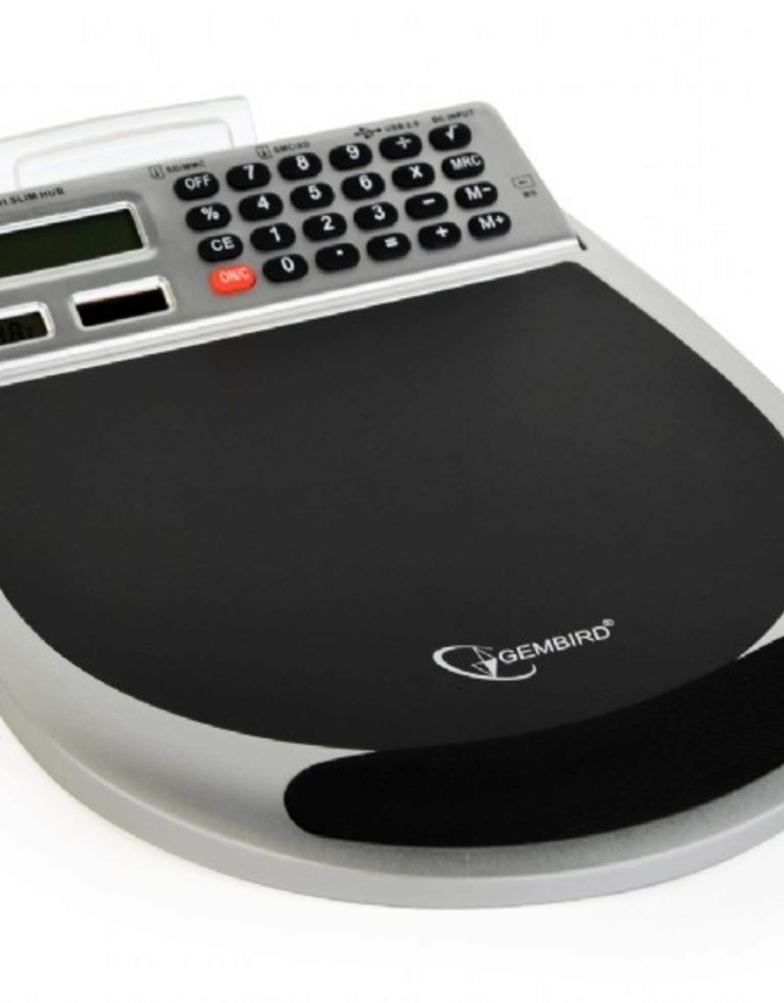 Gembird USB muismat met ingebouwde 3-poort hub, geheugenkaart lezer, calculator en thermometer