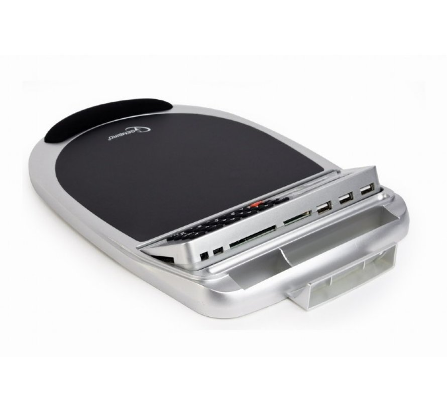 USB muismat met ingebouwde 3-poort hub, geheugenkaart lezer, calculator en thermometer