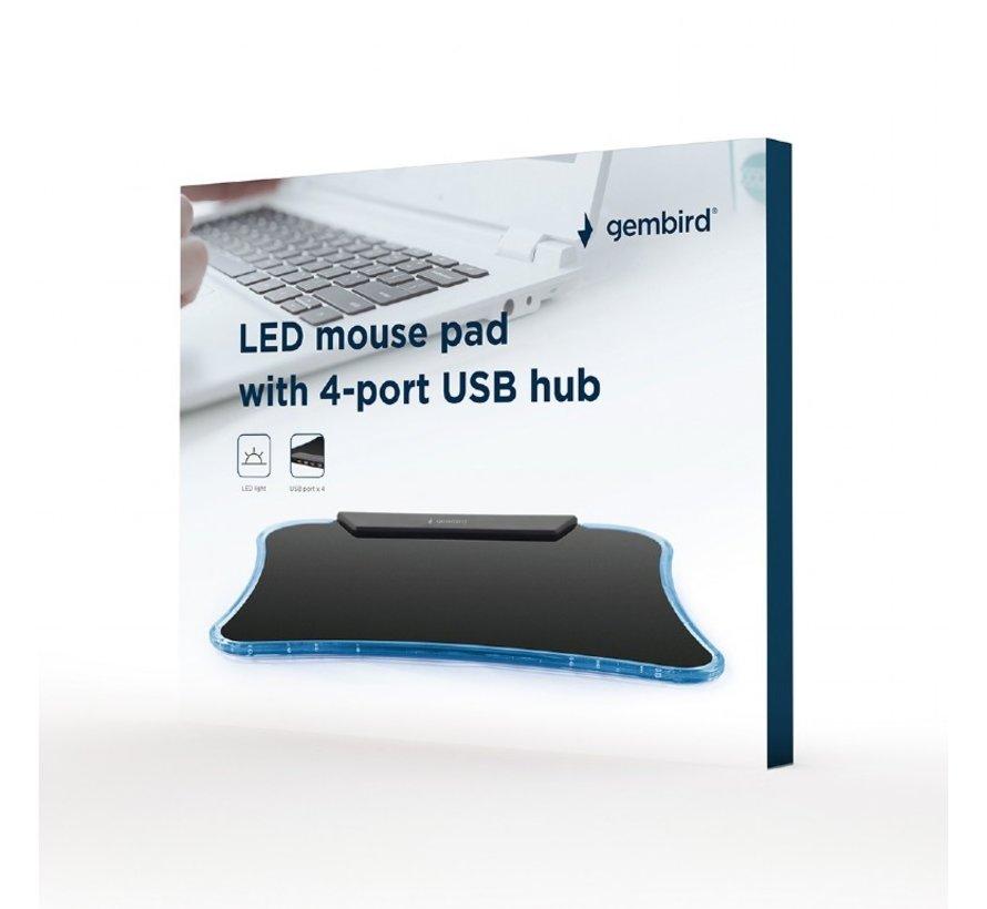 LED muismat met 4-poorts USB hub