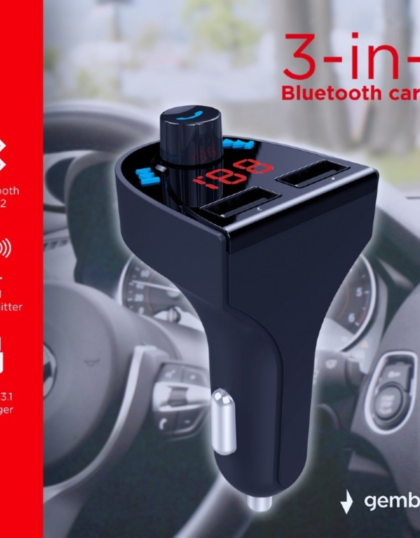 Gembird 3-in-1 Bluetooth carkit with FM-radio transmitter and USB 3.1 A charger, black