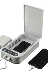 RIFFAA UV-C Sterilizer Desinfectie en Sterilisator box voor Smartphone, Sieraden, Sleutels, Horloges, Oordopjes etc. | De Uv-Licht Doodt meer dan 95% van de Bacteriën en Virussen | Met Draadloos en Extern Oplaadfunctie | Telefoon Schoonmaken | UV-C desinfectie