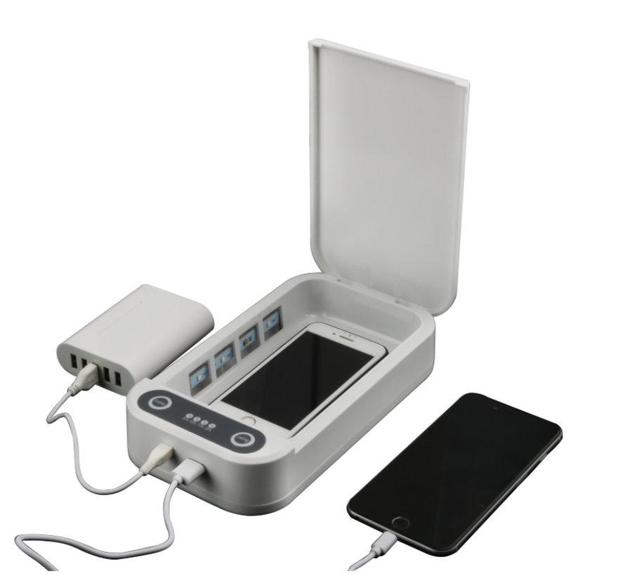Desinfectie en Sterilisator box voor Smartphone, Sieraden, Sleutels, Horloges, Oordopjes etc. | De Uv-Licht Doodt meer dan 95% van de Bacteriën en Virussen | Met Draadloos en Extern Oplaadfunctie | Telefoon Schoonmaken | UV-C desinfectie
