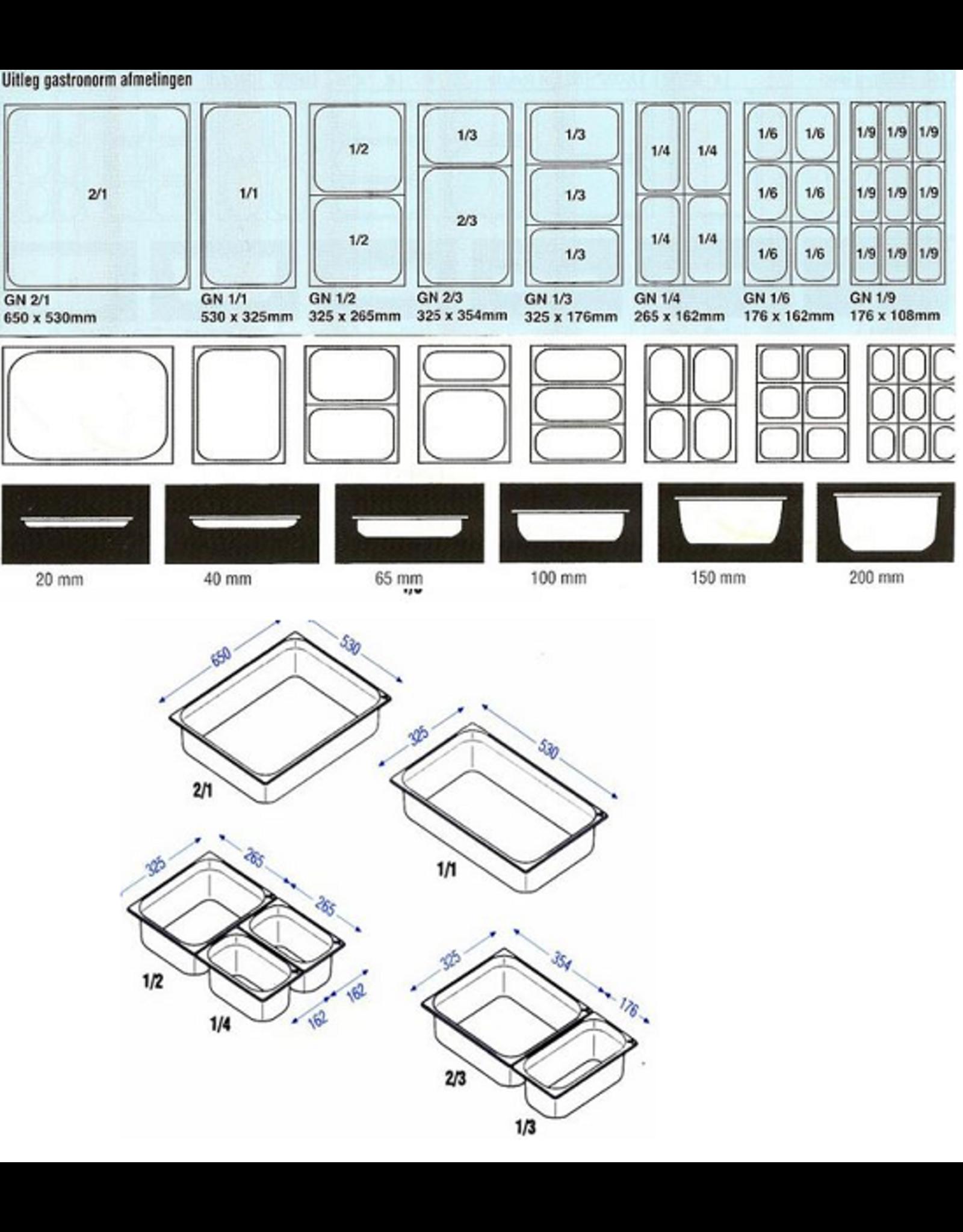 Q-Gastro Gastronorm Bak RVS 1/1GN | 100mm | 530x325mm