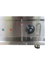 Q-Gastro NAAST DEZE APPARATUUR HEBBEN WIJ OOK NOG 450 STUKS ANDERE HORECA APPARATUUR OP VOORRAAD+  Elektrische Chromen Spiegel Bakplaat 2 zones 400V Wij bieden aan een Elektrische Chromen Bakplaat (NIEUW)  Deze elektrische bakplaat werkt op 230 Volt en is daardoor