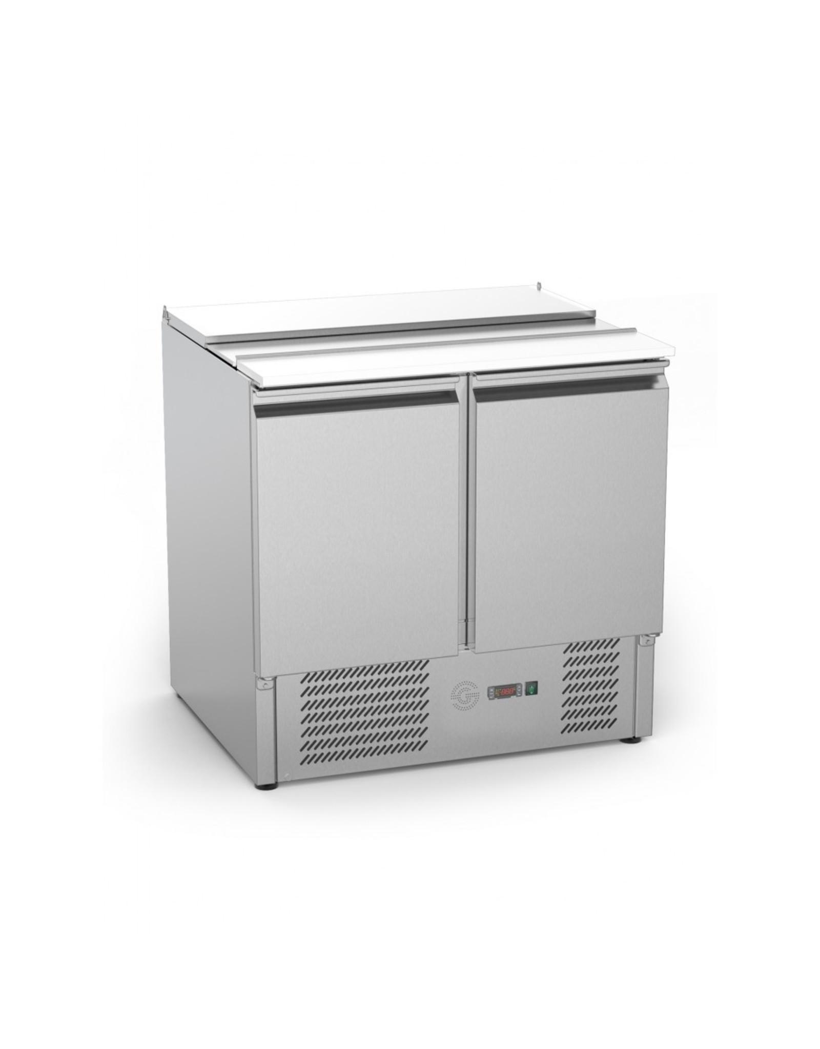Q-Gastro RVS Solide 2 deurs Saladette/Pizzakoeling (nieuw)