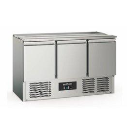 Q-Gastro RVS Solide 3 deurs Saladette/Pizzakoeling (nieuw!!)