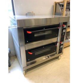 Q-Gastro Gas Bakkerij Pizza Oven met 2x4 kamers op wielen Aardgas (NIEUW!!)