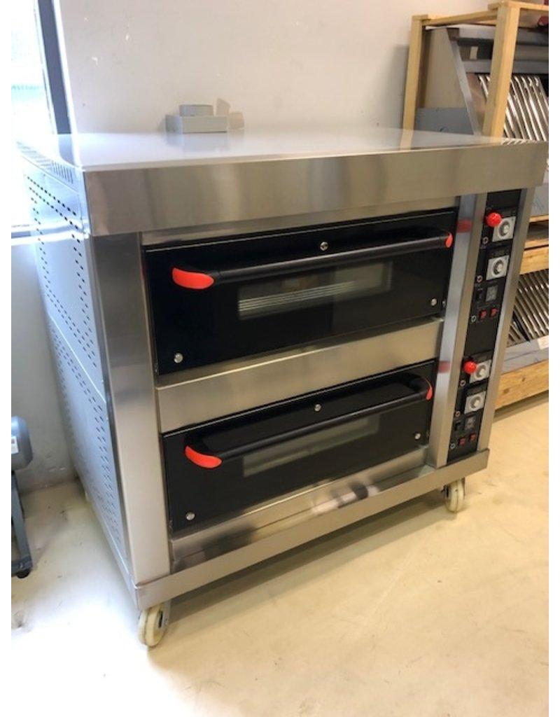 Q-Gastro Gas Pizzaofen mit 2x4 Räumen auf Rädern Erdgas (NEU !!)