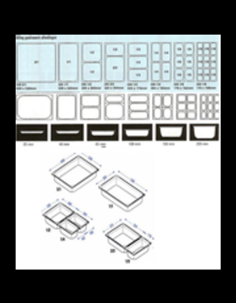 Q-Gastro Gastronorm Bak RVS 1/9 GN | 100mm | 176x108mm