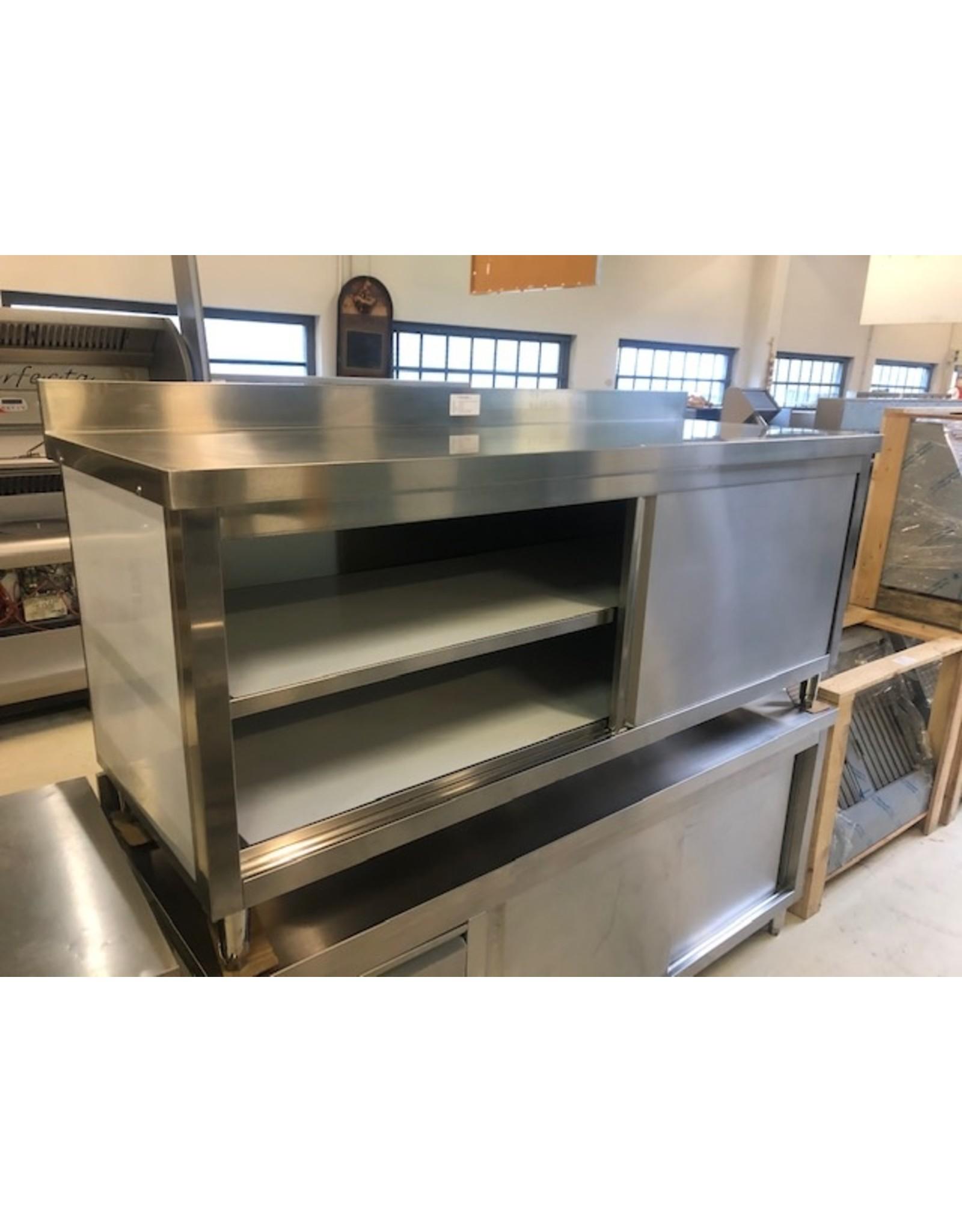 Q-Gastro RVS Werktafel/kast 200cm met schuifdeuren en achterrand (Nieuw!!)