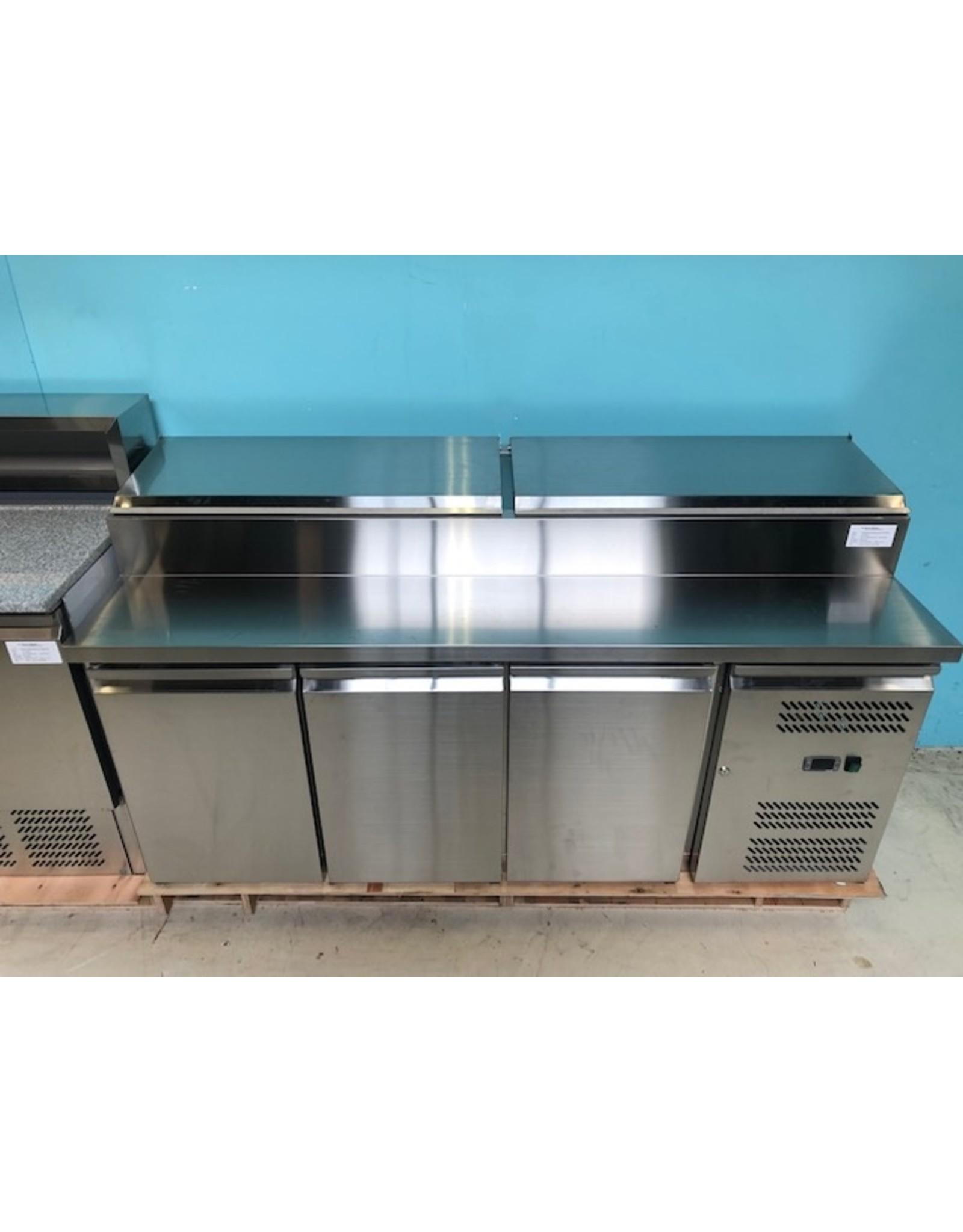 Q-Gastro Q-Gastro Solide RVS Saladiere/Saladette/Koelwerkbank 3 deurs op poten (Nieuw!!)