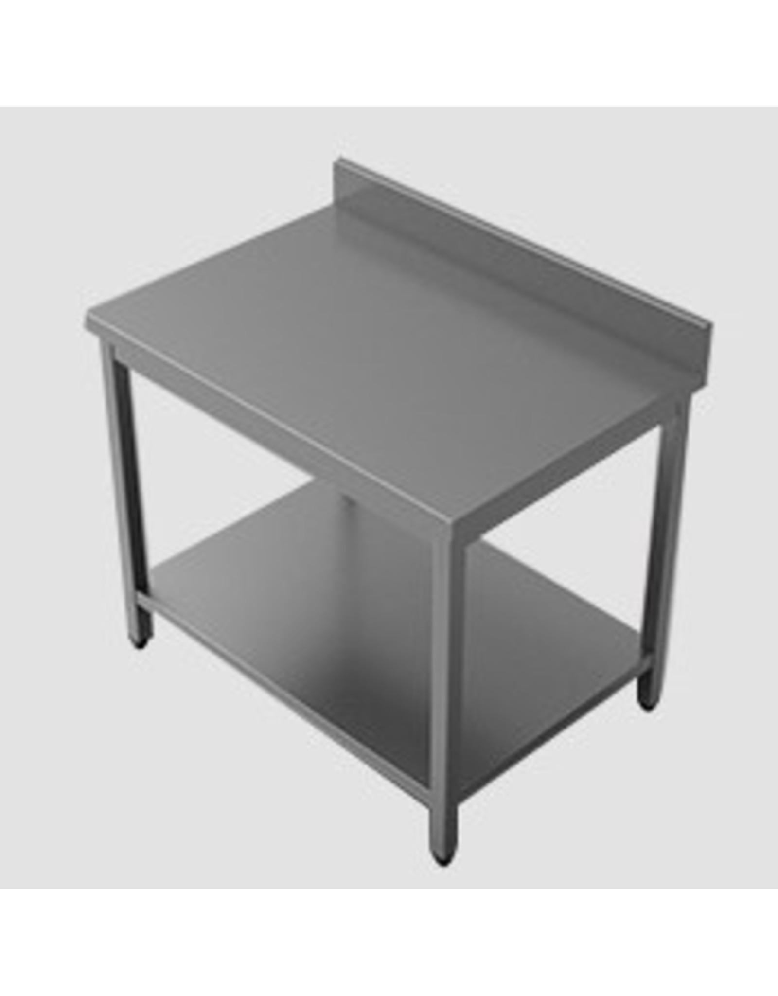 Q-Gastro RVS Werktafel 100x70x85 met Bodemplaat en opstaande Rand  (Nieuw!!)