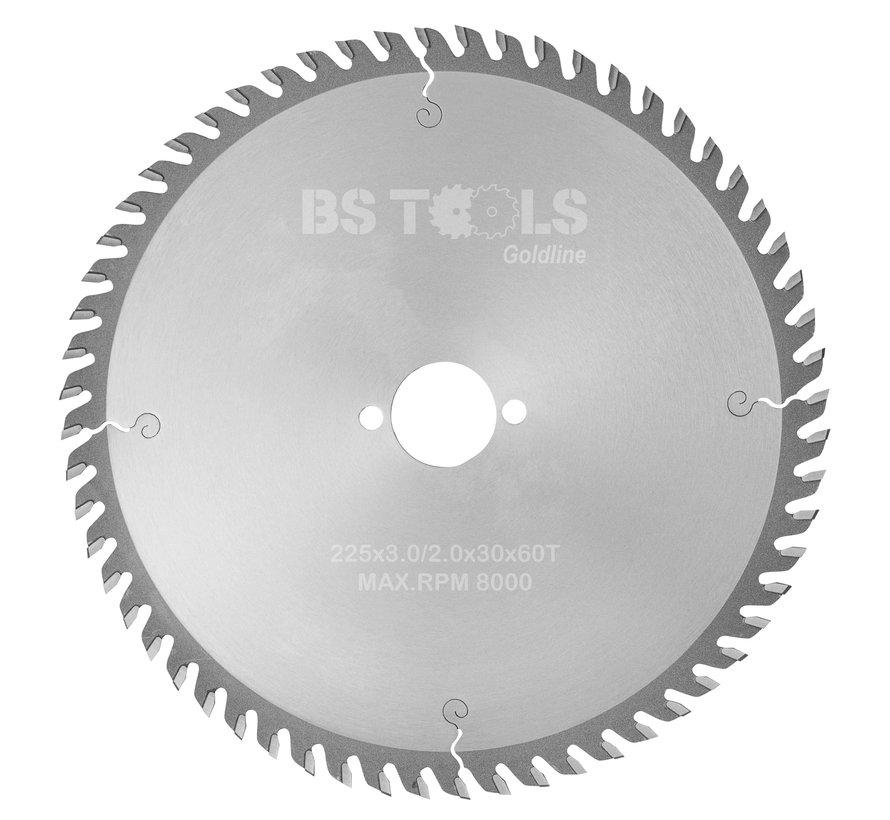HM cirkelzaag GoldLine 225 x 3,0 x 30 mm.  T=60 voor laminaat en Trespa