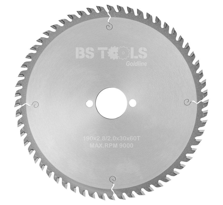 HM cirkelzaag GoldLine 190 x 2,8 x 30 mm.  T=60 voor laminaat en Trespa