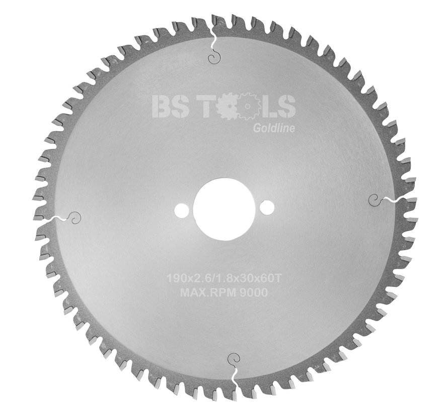 Circular Sawblade GoldLine 190 x 2,6 x 30 mm. T=60  for aluminum