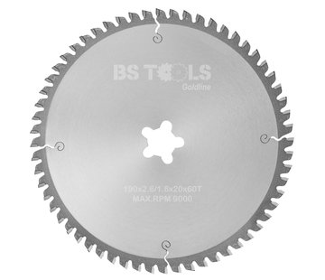 BS tools GoldLine HM zaag GoldLine 190 x 2,6 x FF mm.  T=60 ALUMINIUM