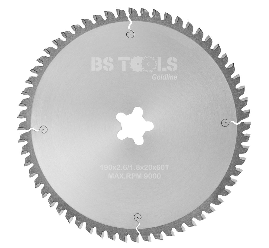 Circular sawblade GoldLine 190 x 2,6 x FF mm.  T=60 for aluminum