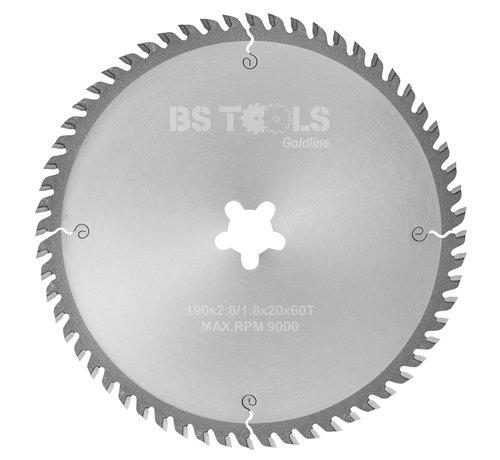 BS tools GoldLine Circular sawblade GoldLine 190 x 2,6 x FF mm.  T=60 for laminate and Trespa