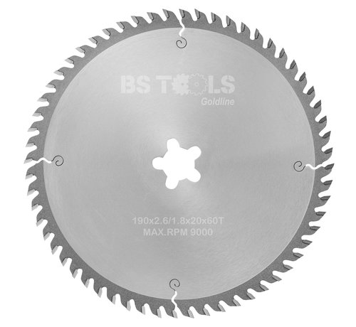 BS tools GoldLine Circular sawblade GoldLine 190 x 2,6 x FF mm.  T=60 alternate top bevel teeth