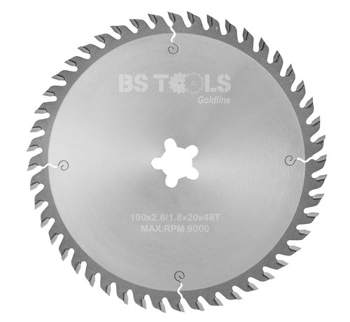 BS tools GoldLine Circular sawblade GoldLine 190 x 2,6 x FF mm.  T=48 alternate top bevel teeth
