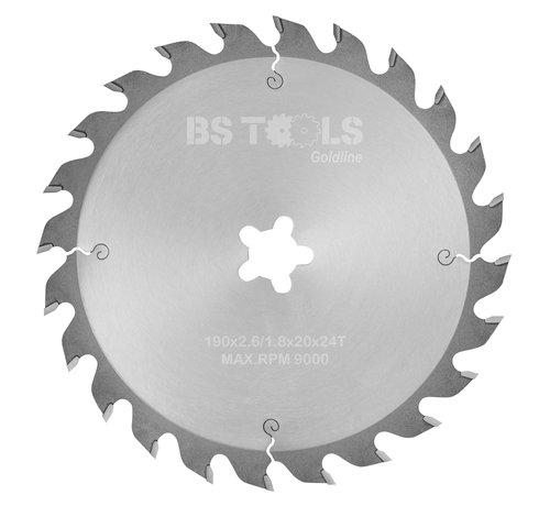 BS tools GoldLine Circular sawblade GoldLine 190 x 2,6 x FF mm.  T=24 alternate top bevel teeth