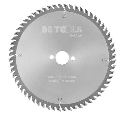 BS tools GoldLine Circular sawblade GoldLine 160 x 2,2 x 20 mm.  T=60 alternate top bevel teeth
