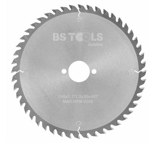BS tools GoldLine Circular sawblade GoldLine 190 x 1,7 x 30 mm.  T=48 alternate top bevel teeth