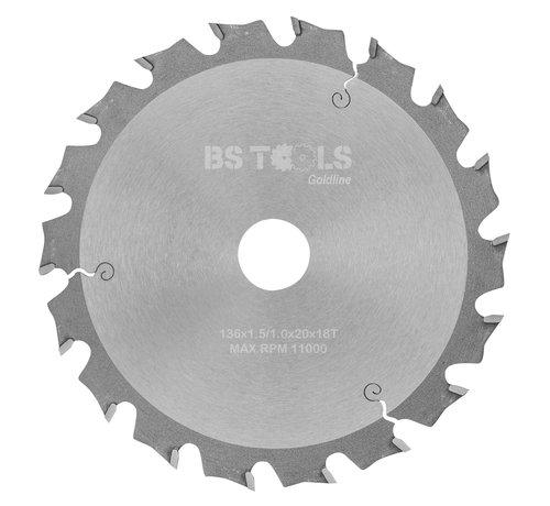 BS tools GoldLine Circular sawblade BlueLine 136 x 1,5 x 20 mm.  T=18 alternate top bevel teeth