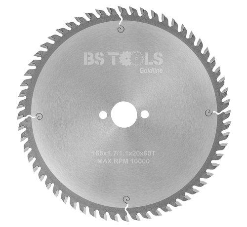BS tools GoldLine Circular sawblade GoldLine 165 x 1,7 x 20 mm.  T=60 alternate top bevel teeth