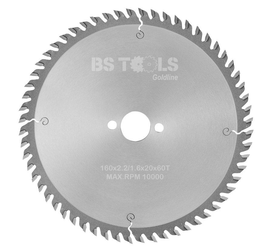 HM cirkelzaag GoldLine 160 x 2,2 x 20 mm.  T=60 voor laminaat en Trespa
