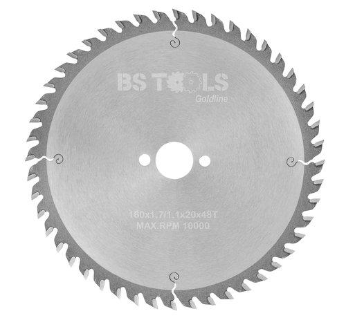 BS tools GoldLine Circular sawblade BlueLine 160 x 1,7 x 20 mm.  T=48 alternate top bevel teeth
