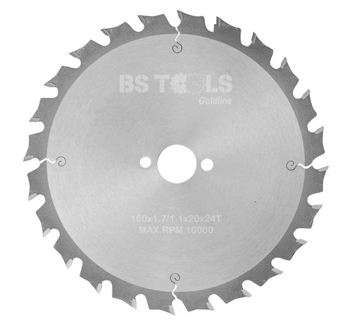 BS tools GoldLine Circular sawblade BlueLine 160 x 1,7 x 20 mm.  T=24 alternate top bevel teeth